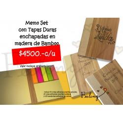 libreta pos-it con tapa bambú